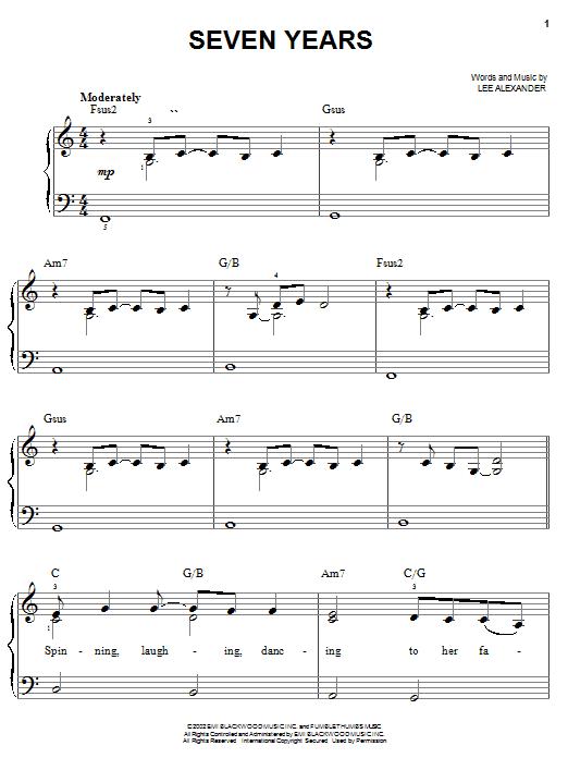Partition piano Seven Years de Norah Jones - Piano Facile