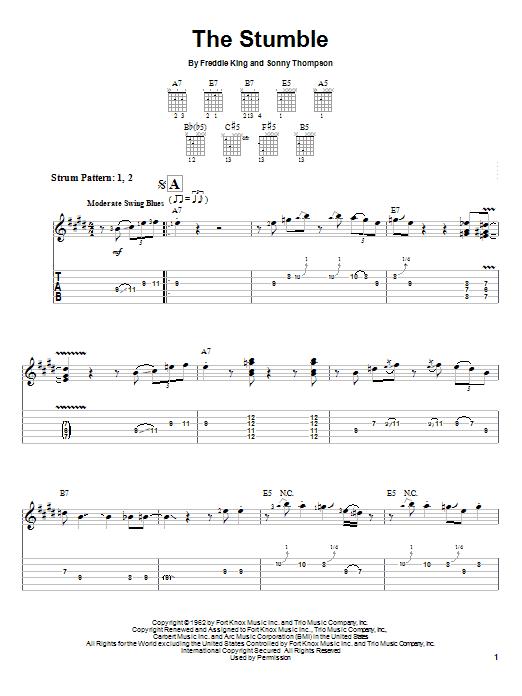 Tablature guitare The Stumble de Freddie King - Tablature guitare facile
