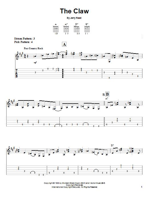 Tablature guitare The Claw de Jerry Reed - Tablature guitare facile