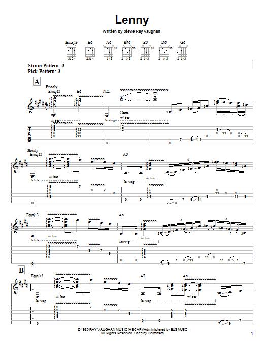 Tablature guitare Lenny de Stevie Ray Vaughan - Tablature guitare facile