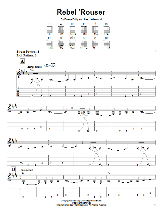 Tablature guitare Rebel 'Rouser de Duane Eddy - Tablature guitare facile