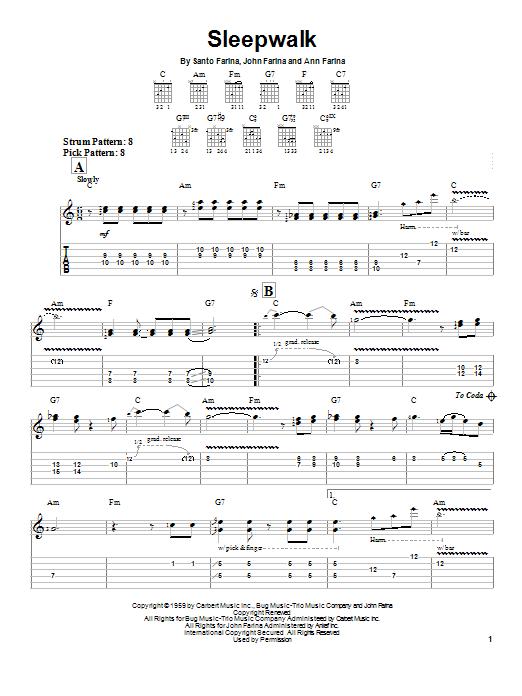 Tablature guitare Sleepwalk de Santo & Johnny - Tablature guitare facile