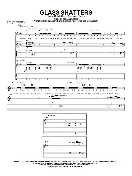 Tablature guitare Glass Shatters de Disturbed - Tablature Guitare