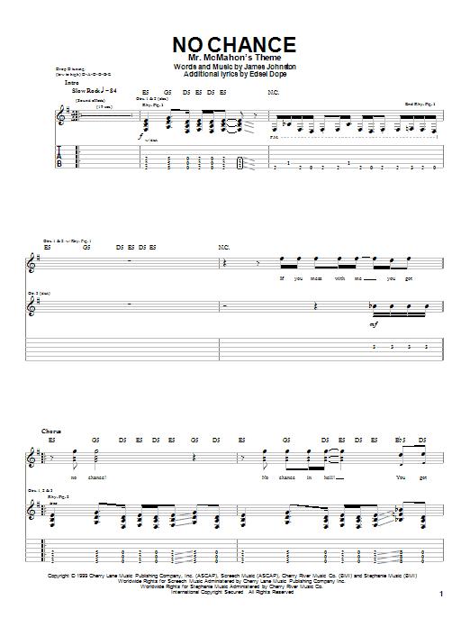 Tablature guitare No Chance de Dope - Tablature Guitare