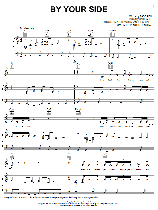 By Your Side sheet music for voice, piano or guitar by Stuart Matthewman