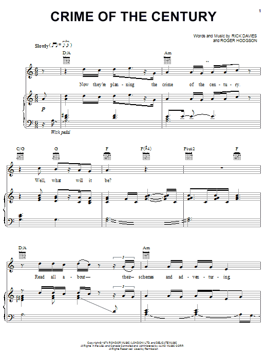 Crime Of The Century sheet music for voice, piano or guitar by Roger Hodgson