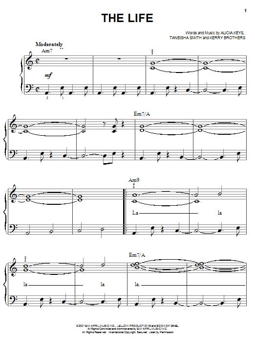 Partition piano The Life de Alicia Keys - Piano Facile