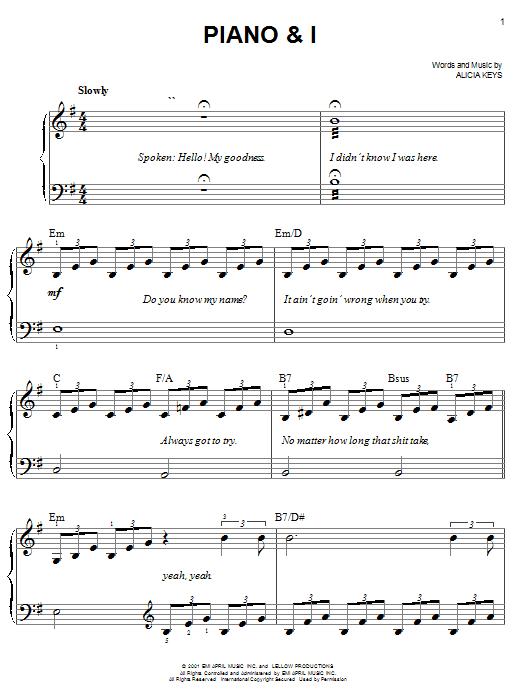 Partition piano Piano & I de Alicia Keys - Piano Facile