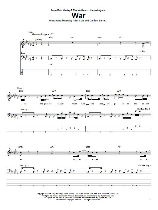 War by Bob Marley - Bass Tab - Guitar Instructor