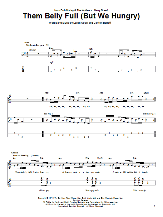 Tablature guitare Them Belly Full (But We Hungry) de Bob Marley - Tablature Basse
