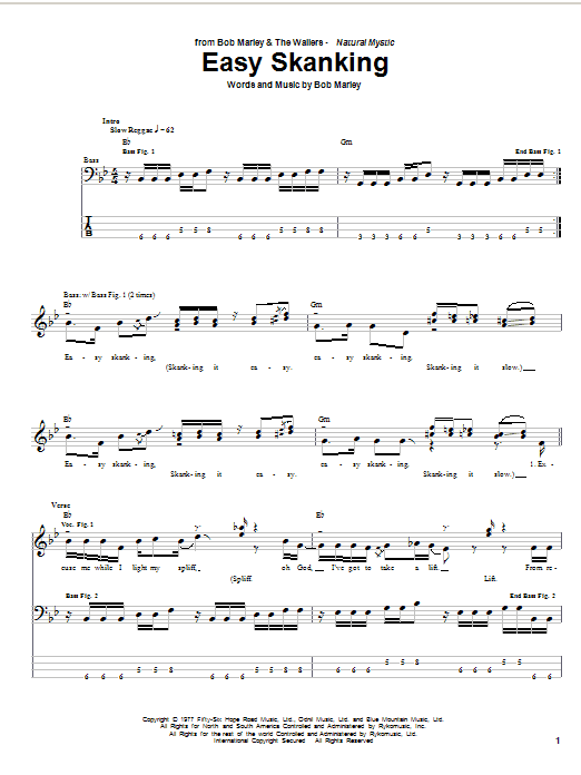 Tablature guitare Easy Skanking de Bob Marley - Tablature Basse