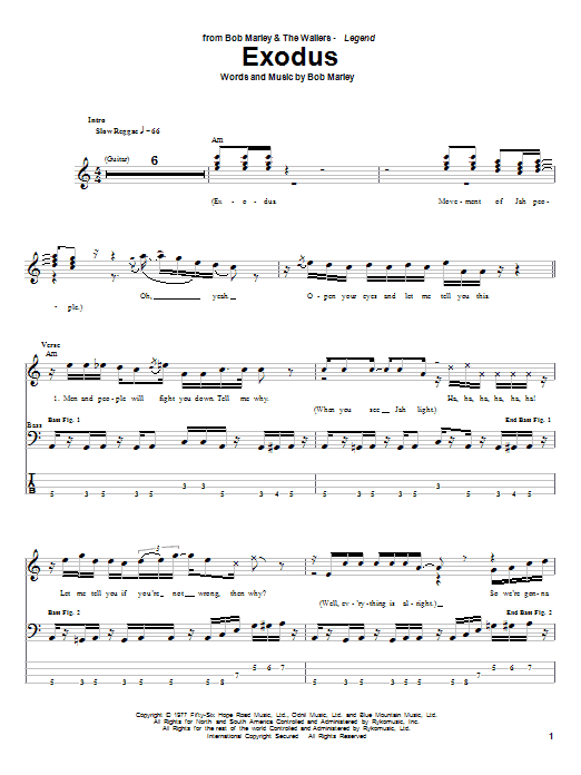 Tablature guitare Exodus de Bob Marley - Tablature Basse