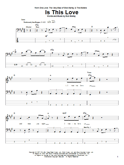 Tablature guitare Is This Love de Bob Marley - Tablature Basse
