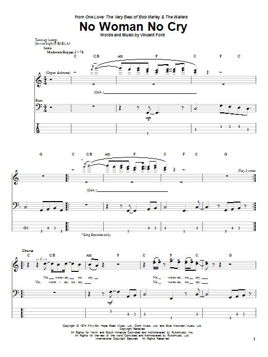 Tablature guitare No Woman No Cry de Bob Marley - Tablature Basse