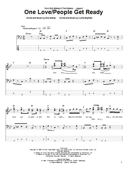 One Love Bass Guitar Tab by Bob Marley (Bass Guitar Tab u2013 23318)