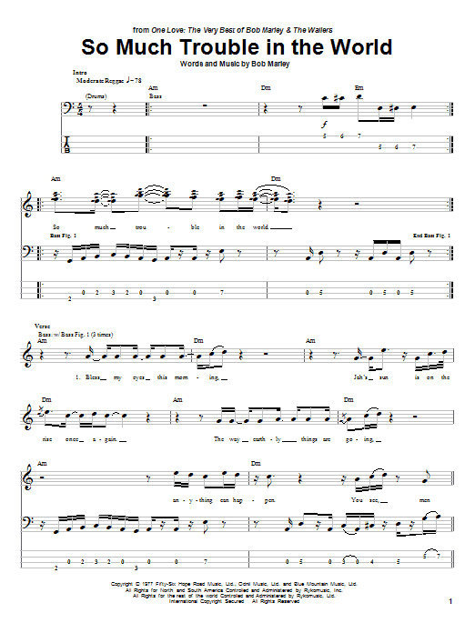 Tablature guitare So Much Trouble In The World de Bob Marley - Tablature Basse