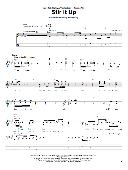 Stir It Up by Bob Marley - Bass Tab - Guitar Instructor
