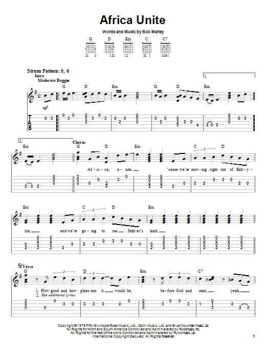 Tablature guitare Africa Unite de Bob Marley - Tablature guitare facile