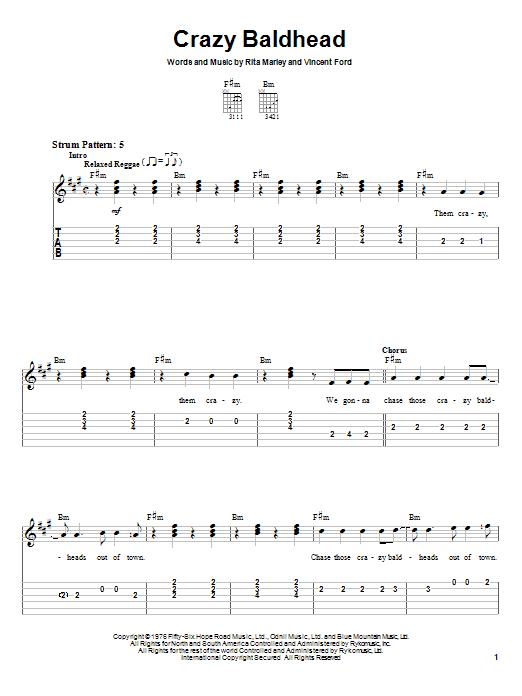 Tablature guitare Crazy Baldhead de Bob Marley - Tablature guitare facile