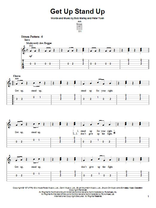Tablature guitare Get Up Stand Up de Bob Marley - Tablature guitare facile