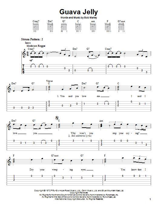 Tablature guitare Guava Jelly de Bob Marley - Tablature guitare facile