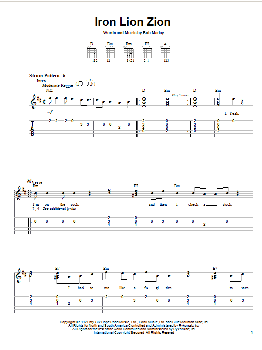 Tablature guitare Iron Lion Zion de Bob Marley - Tablature guitare facile
