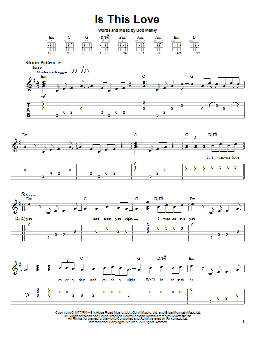 Tablature guitare Is This Love de Bob Marley - Tablature guitare facile