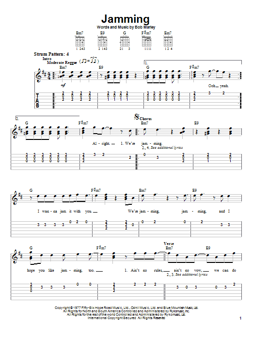 Tablature guitare Jamming de Bob Marley - Tablature guitare facile