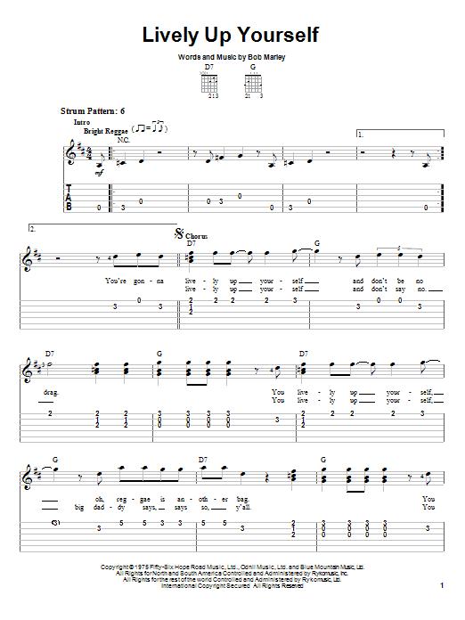Tablature guitare Lively Up Yourself de Bob Marley - Tablature guitare facile