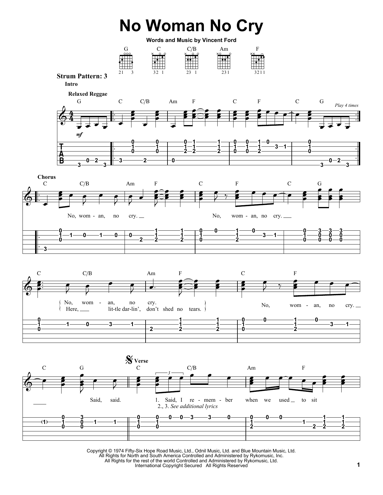 Tablature guitare No Woman No Cry de Bob Marley - Tablature guitare facile