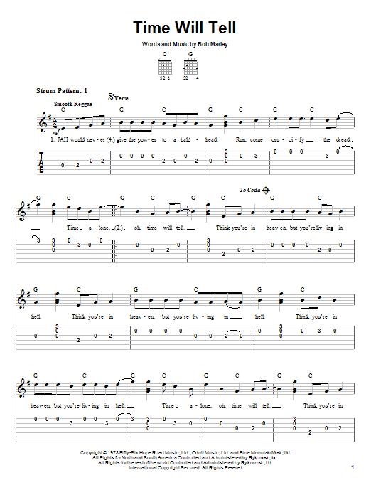 Tablature guitare Time Will Tell de Bob Marley - Tablature guitare facile