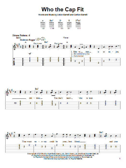 Tablature guitare Who The Cap Fit de Bob Marley - Tablature guitare facile