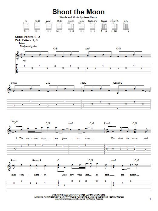 Tablature guitare Shoot The Moon de Norah Jones - Tablature guitare facile