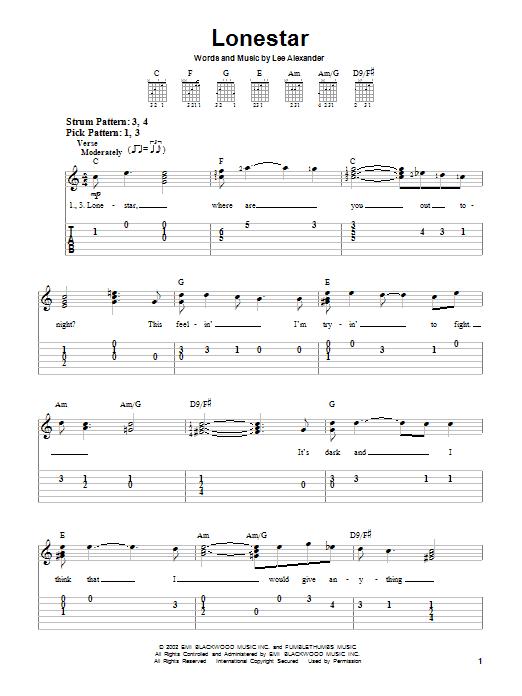 Tablature guitare Lonestar de Norah Jones - Tablature guitare facile