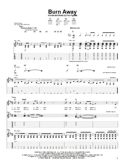 Tablature guitare Burn Away de Foo Fighters - Tablature Guitare