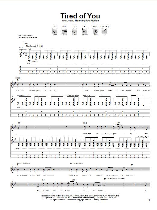 Tablature guitare Tired Of You de Foo Fighters - Tablature Guitare