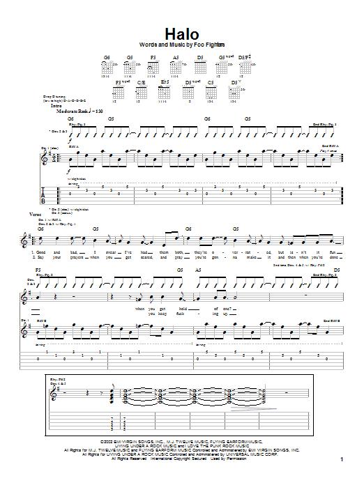 Tablature guitare Halo de Foo Fighters - Tablature Guitare