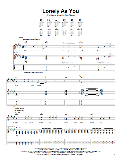 Tablature guitare Lonely As You de Foo Fighters - Tablature Guitare