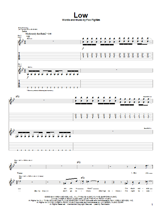 Tablature guitare Low de Foo Fighters - Tablature Guitare