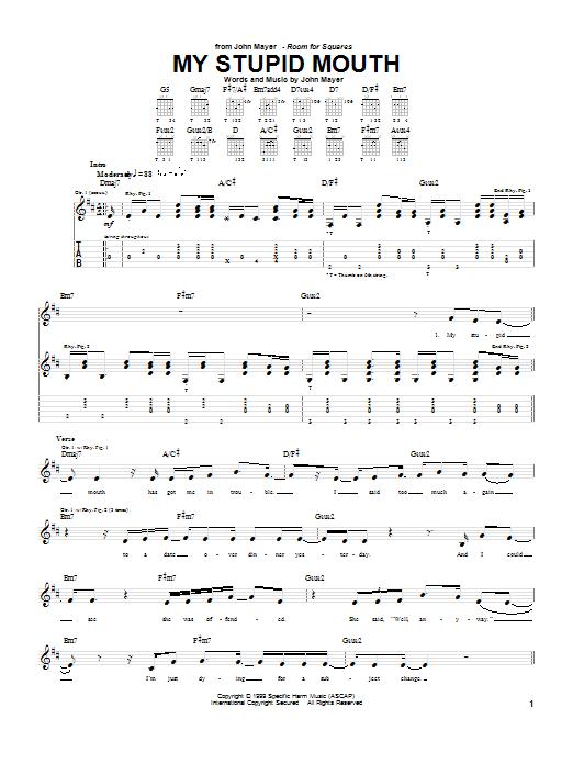 Tablature guitare My Stupid Mouth de John Mayer - Tablature Guitare