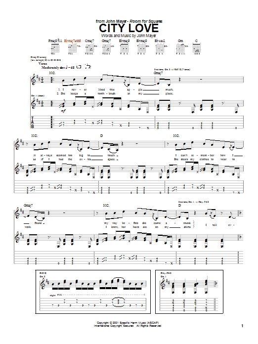 Tablature guitare City Love de John Mayer - Tablature Guitare