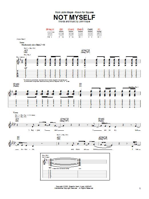 Tablature guitare Not Myself de John Mayer - Tablature Guitare
