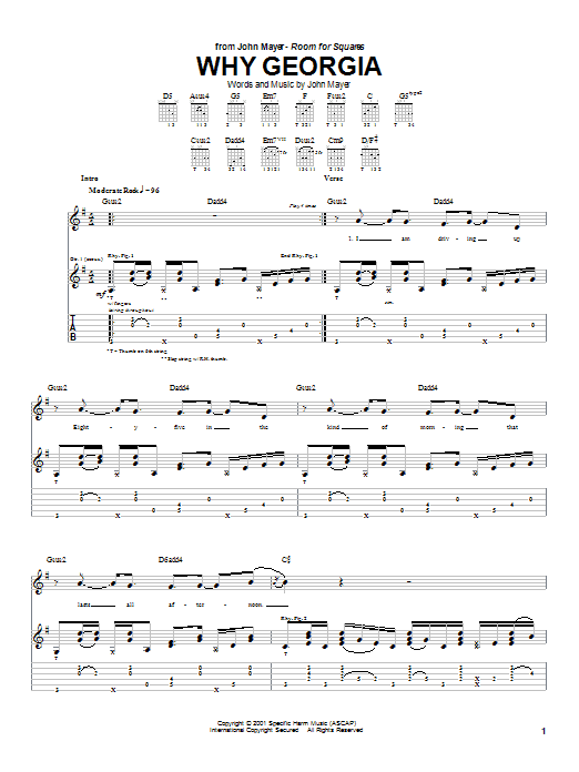 Why Georgia by John Mayer - Guitar Tab - Guitar Instructor