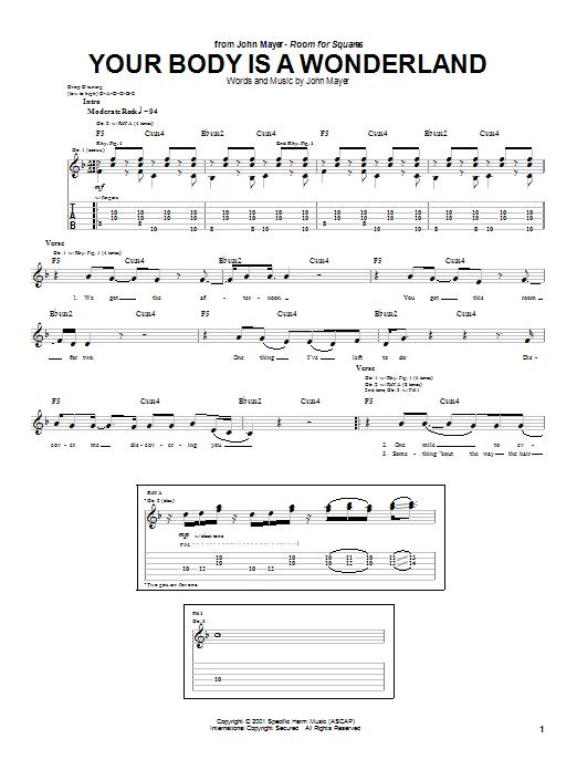 Tablature guitare Your Body Is A Wonderland de John Mayer - Tablature Guitare