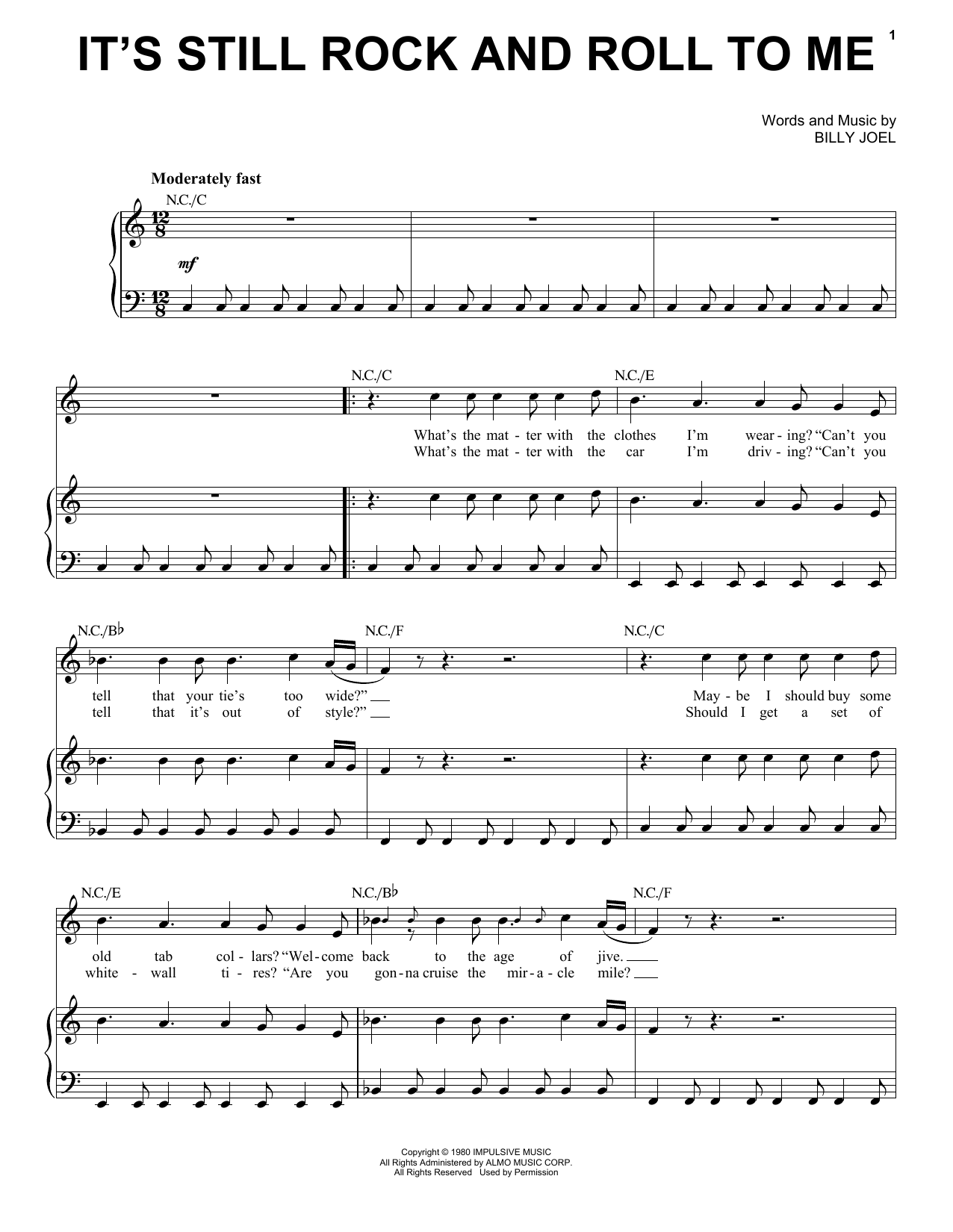Partition piano It's Still Rock And Roll To Me de Billy Joel - Piano Voix Guitare (Mélodie Main Droite)