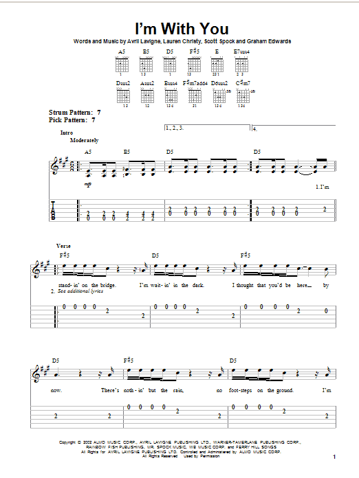 Tablature guitare I'm With You de Avril Lavigne - Tablature guitare facile