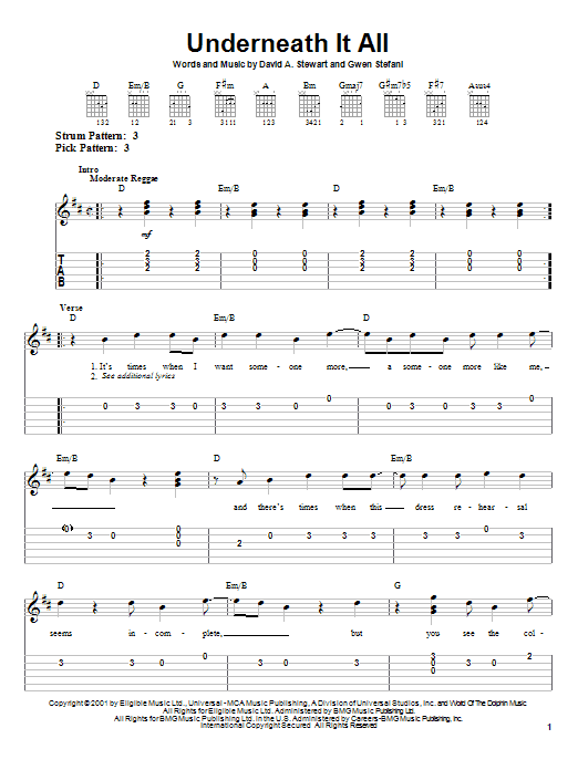 Underneath It All sheet music for guitar solo (easy tablature) by Gwen Stefani