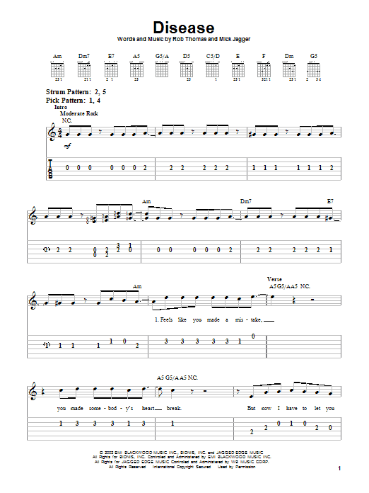 Tablature guitare Disease de Matchbox Twenty - Tablature guitare facile