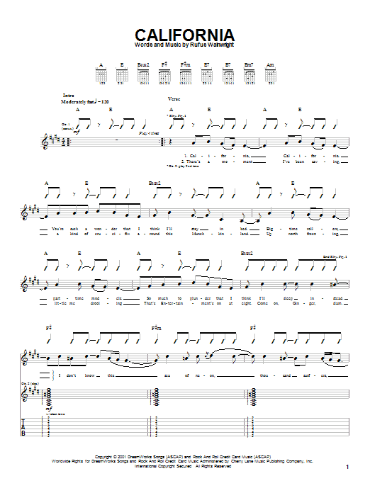 Tablature guitare California de Rufus Wainwright - Tablature Guitare