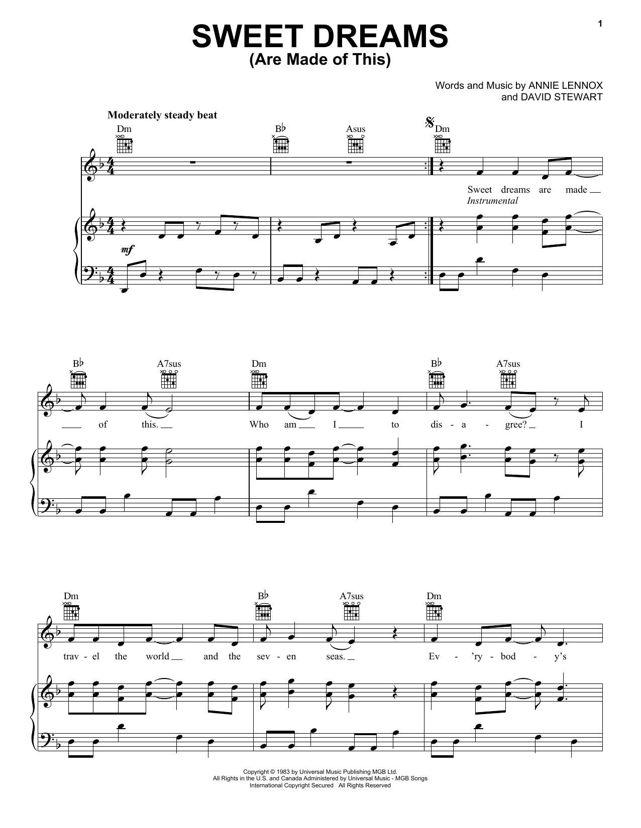 Sheet Music Digital Files To Print Licensed Eurythmics Digital